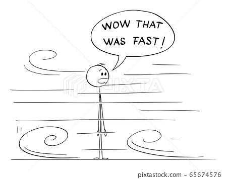 Vector Cartoon Illustration of Shocked or Surprised Man Looking at Something Very Fast Moving Around Him 65674576