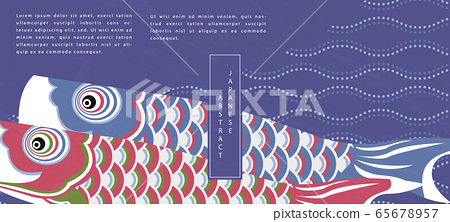 Oriental Japanese style abstract pattern background design traditional koinobori fish flag and curve wave dot line backdrop 65678957