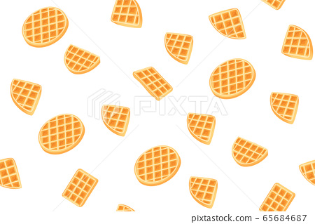 Yellow Belgian waffles seamless pattern for print design. Cartoon sweet vector illustration. Golden waffle slices on white background. Decorative Modern cookie cover. Snack Geometric shapes 65684687
