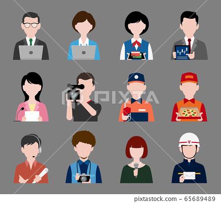 按職業和行業設置的人上半身圖標 65689489