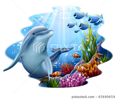 Cute dolphin playing at coral reef 65690659