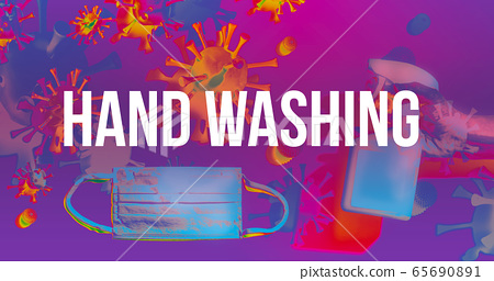 Hand washing theme with face mask and spray bottle 65690891