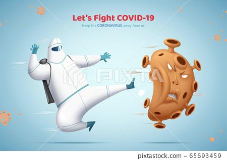 Man kicking the bad virus away 65693459