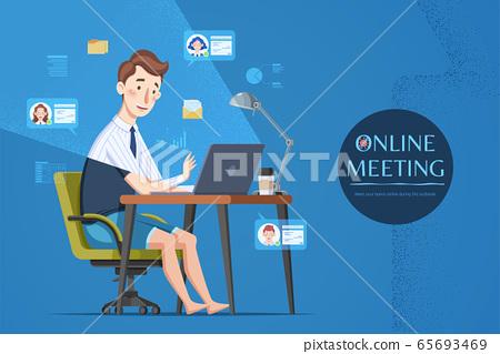 Man attending online meeting 65693469