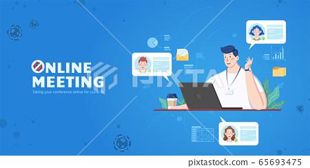 Man attending online meeting 65693475