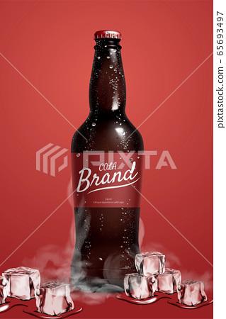Cola bottle mock up with ice blocks 65693497