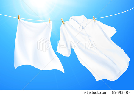 Hanging white clothes 65693508