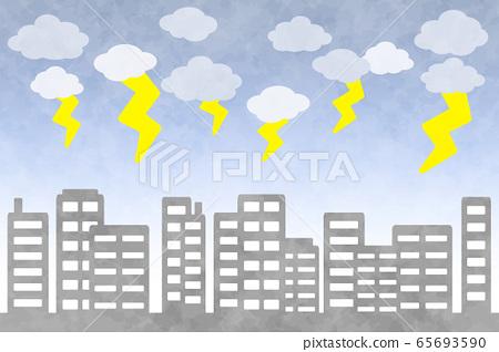 建築背景矩形閃電水彩風格 65693590