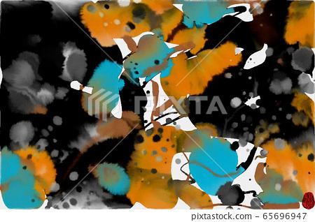抽像美麗的東方水彩背景肌理和墨點 65696947