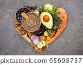 Heart shape of ketogenic low carbs diet concept. 65698737