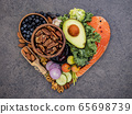 Heart shape of ketogenic low carbs diet concept. 65698739