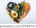 Heart shape of ketogenic low carbs diet concept. 65698741
