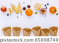 Flat lay various fresh fruits blueberry 65698749