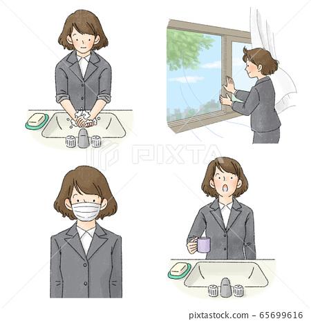 防感染漱口水,洗手,通風,面罩套裝(女性上班族) 65699616