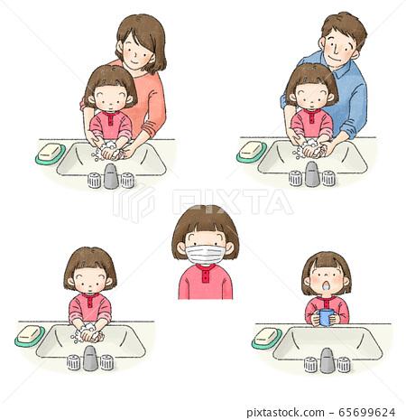預防感染含漱液,洗手,通風,口罩(父母,嬰兒,女孩) 65699624