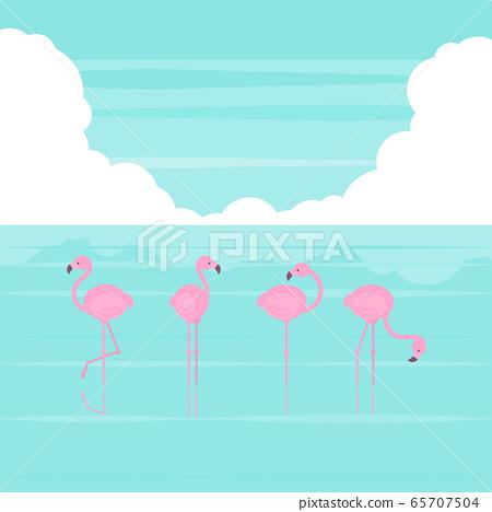 Summer beach flamingos 65707504
