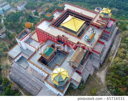 Aerial view of The Putuo Zongcheng Buddhist Temple, Chengde, China 65716531