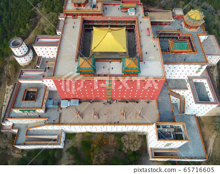 Aerial view of The Putuo Zongcheng Buddhist Temple, Chengde, China 65716605