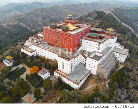 Aerial view of The Putuo Zongcheng Buddhist Temple, Chengde, China 65716715