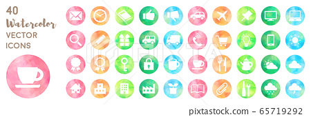 Hand drawn style colorful watercolor icon set 65719292