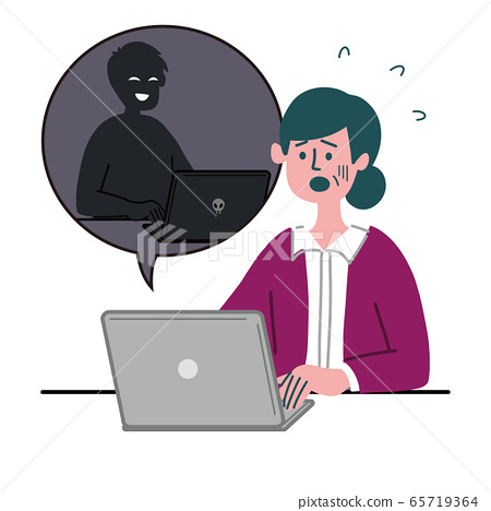 Female housewife PC hacking 65719364