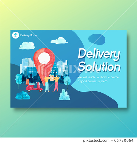Facebook design template with food delivery  65720664