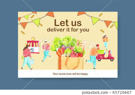 Facebook design template with food delivery  65720667