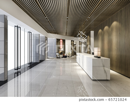 3d rendering luxury hotel reception hall and wood asian style office with modern counter 65721024