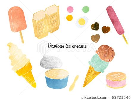 各種類型的冰淇淋(水彩)的插圖 65723346