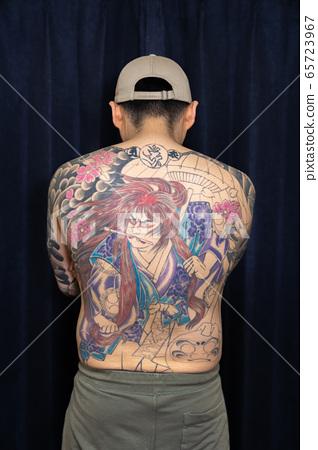 Tattooed back Japanese traditional tattoo 65723967