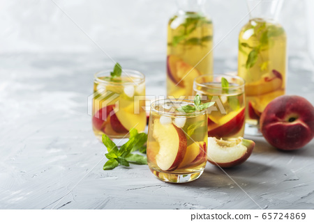 Summer cold tea with peaches and mint 65724869