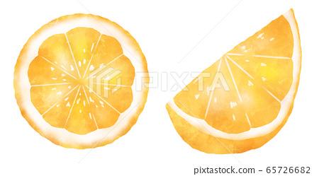 橙片和微笑切水彩风格 65726682