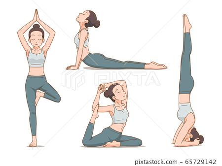 Set of cartoon woman in yoga poses. 65729142