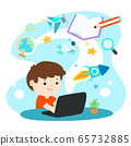 Kids learning online education vector. 65732885