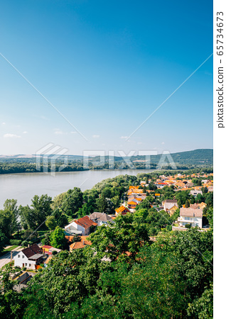 Esztergom city and Danube river panorama view in Hungary 65734673