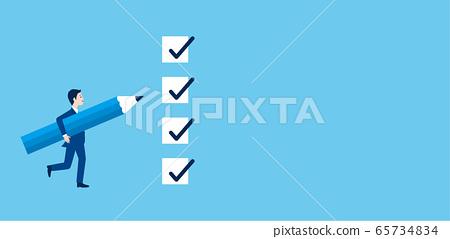 一個男人用支票圖像和一支筆的插圖 65734834