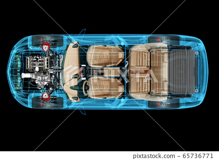 Technical 3d illustration of SUV car with x-ray effect. 65736771