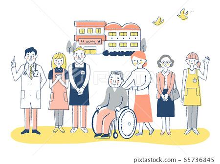 Nursing facility Wheelchair grandpa and nursing staff 65736845