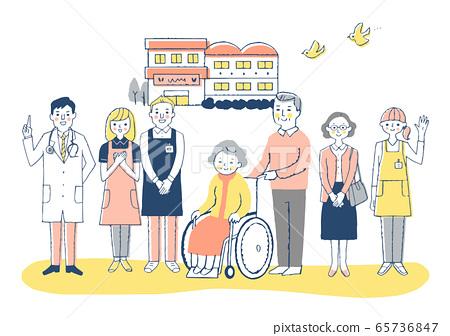 Nursing facility Wheelchair grandmother and nursing staff 65736847