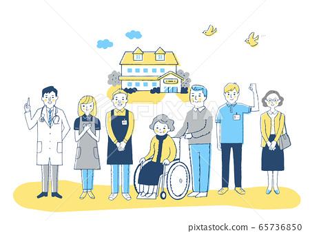 Nursing facility Wheelchair grandmother and nursing staff 65736850