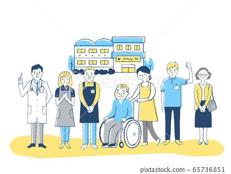 Nursing facility Wheelchair grandpa and nursing staff 65736851