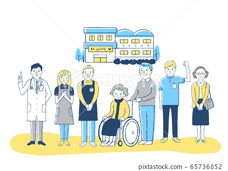 Nursing facility Wheelchair grandmother and nursing staff 65736852