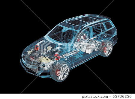 Technical 3d illustration of SUV car with x-ray 65736856