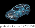 Technical 3d illustration of SUV car with x-ray 65736858
