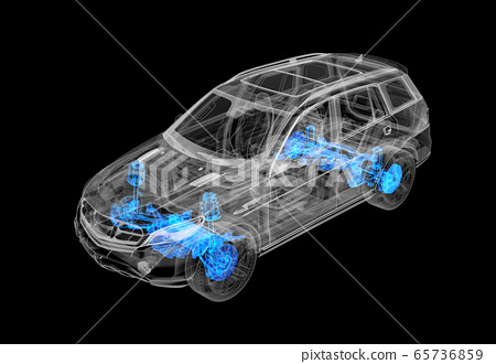 Technical 3d illustration of SUV car with x-ray 65736859