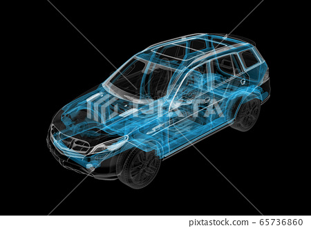 Technical 3d illustration of SUV car with x-ray 65736860