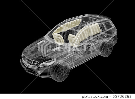 Technical 3d illustration of SUV car with x-ray 65736862