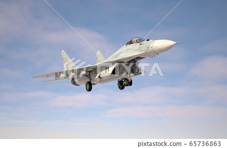 Military fighter aircraft Mig 29 landing/take off. 65736863