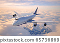 Passenger aircraft flying above the clouds. 65736869