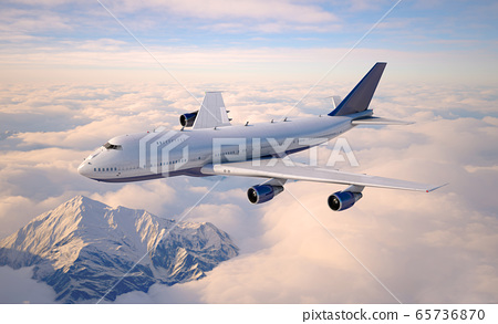 Passenger aircraft flying above the clouds. 65736870